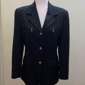 Theme long button zipper black blazer jacket Japan